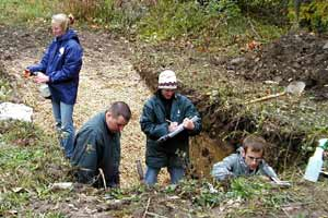 Soil judging team at work in a soil pit