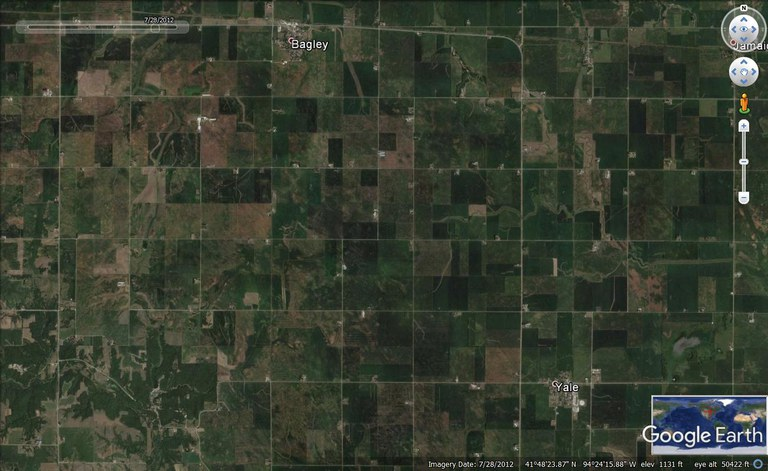 Google Earth image of Guthrie County near Logan, Iowa, during the dry July of 2012. Water stress limited growth, as can be seen in the picture. In such cases, unused nitrogen due to low crop growth is at risk of  leachig and gaseous losses when the soil become wet in late fall or spring. First and second order streams transport nitrogen and other pollutants to major rivers. Buffer strips and biomass crops can intercept a fraction of the nitrogen.