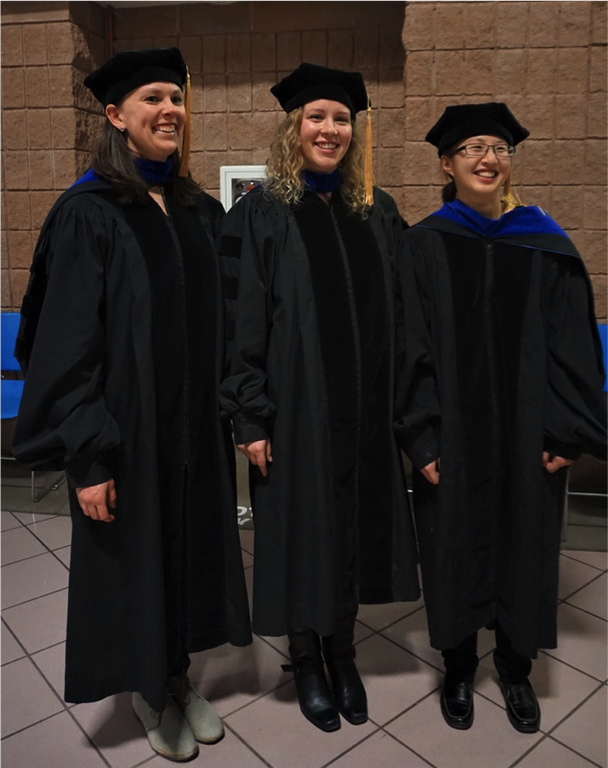 Molly Hanlon, Hannah Schneider, and Jennifer Yang (left to right) graduated this semester with doctoral degrees