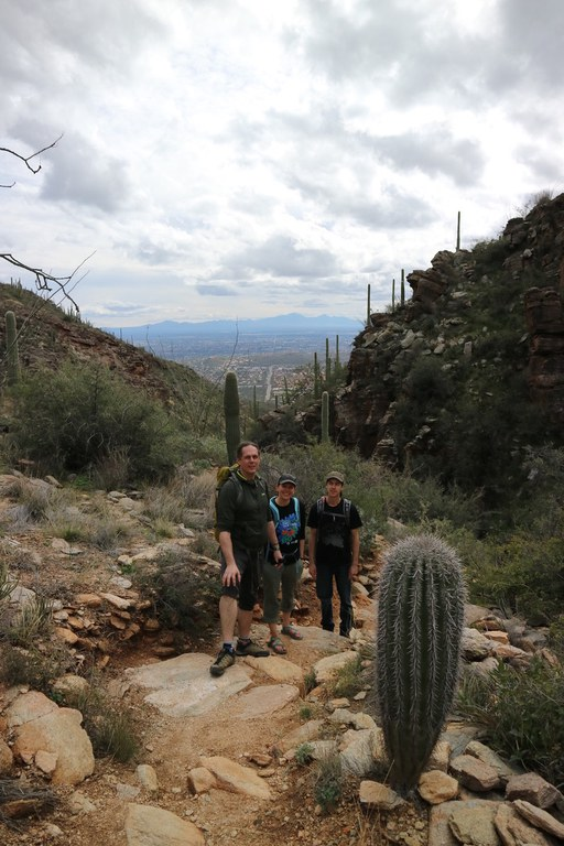 Alex Bucksch (left), Molly Hanlon (middle) and Malcolm Bennett (photographer) enjoy a hike before the meeting.